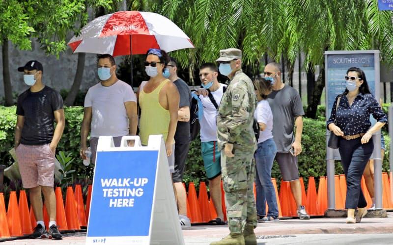 フロリダ州マイアミビーチで新型コロナウイルスの検査を待つ人たち(6月30日)=AP