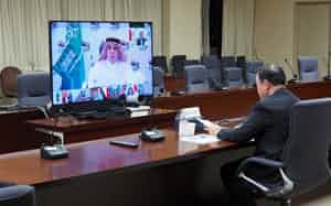 G20貿易担当相会合もテレビ会議で実施した(5月14日、経済産業省)
