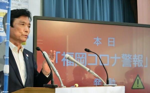 小川洋知事は酒類提供飲食店に対し感染対策の徹底を求めた(5日、福岡県庁)