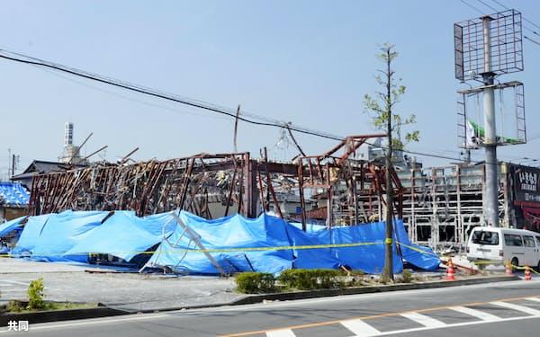 爆発事故が起きた飲食店(5日、福島県郡山市)=共同