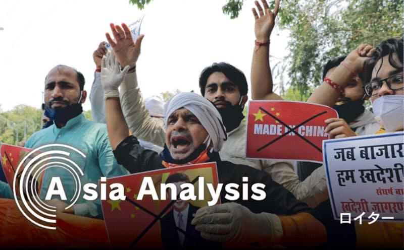 国境での軍事衝突を受け、インドでは中国製品の排斥ムードが高まった(6月中旬、ニューデリー)=ロイター