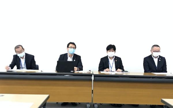 常陽銀と筑波銀は7日、業務提携について説明した(常陽銀本店)