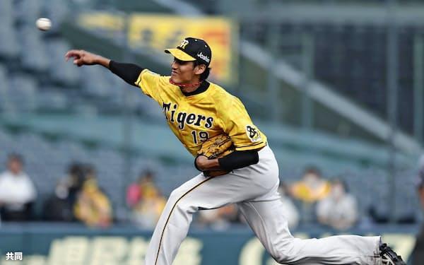 今季3度目の登板となった8月5日の巨人戦で、阪神・藤波は復調を感じさせる投球を見せた=共同