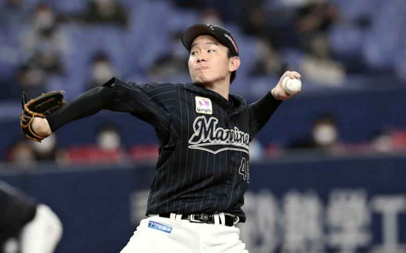 オリックス戦に先発したロッテ・中村稔(9日、京セラドーム)=共同