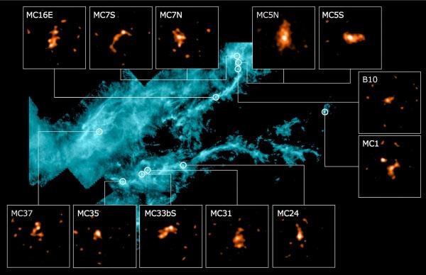ハーシェル宇宙天文台が遠赤外線で観測したおうし座分子雲とアルマ望遠鏡で観測した星の形成に至っていないとみられた12カ所の合成画像(アルマ望遠鏡・欧州宇宙機関提供)=共同