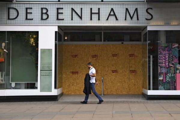 英経済は都市封鎖の長期化で大きく悪化した(6月、営業休止中のロンドン中心部の百貨店)=AP