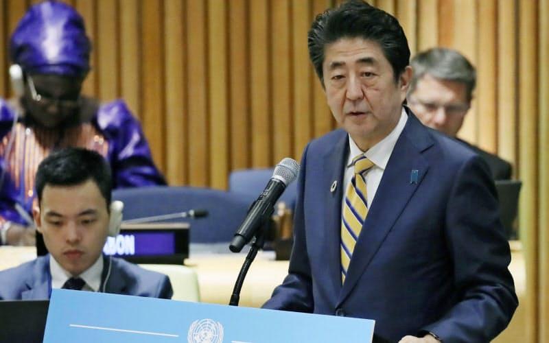 SDGsは世界的な取り組みだ(米ニューヨークの国連本部、首脳級会合で演説する安倍首相)=代表撮影・共同