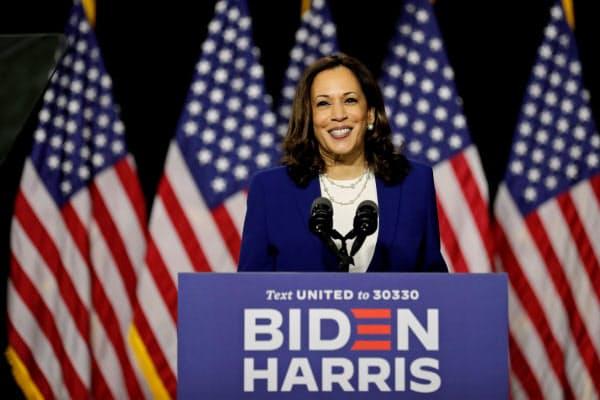 米民主党の副大統領候補に起用されたカマラ・ハリス上院議員=ロイター