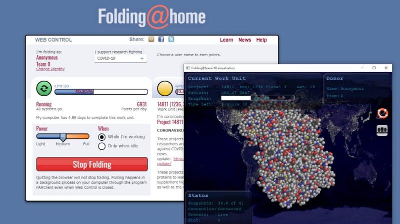 分散コンピューティングプロジェクト「Folding@home」の操作画面