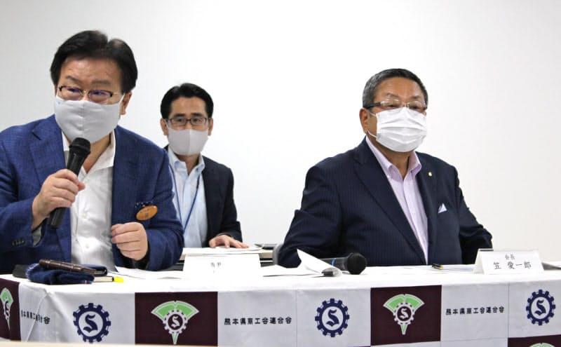 熊本県商工会連合会は今後の豪雨やコロナ感染再拡大の影響を懸念する(14日、熊本市)