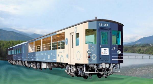 JR四国は阿波藍をほうふつする外観のトロッコ列車の運行を始める