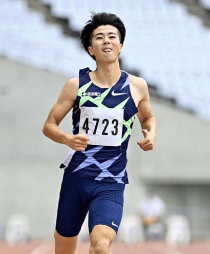 大阪選手権の男子100メートルを10秒46で制した多田=共同
