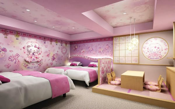 ハローキティをデザインした部屋「桜天女」。浅草東武ホテル(東京・台東)に設ける(C)1976,2020 SANRIO CO.,LTD.