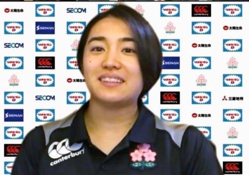 ラグビー7人制女子日本代表候補合宿に参加し、オンラインで取材に応じる堤ほの花(18日午後)=共同