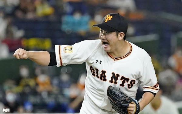 巨人・菅野は球団としては1990年の斎藤雅樹以来の開幕8連勝を飾った=共同
