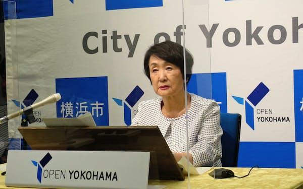 横浜市の林文子市長がIR実施方針の公表見送りを表明した(19日、横浜市)