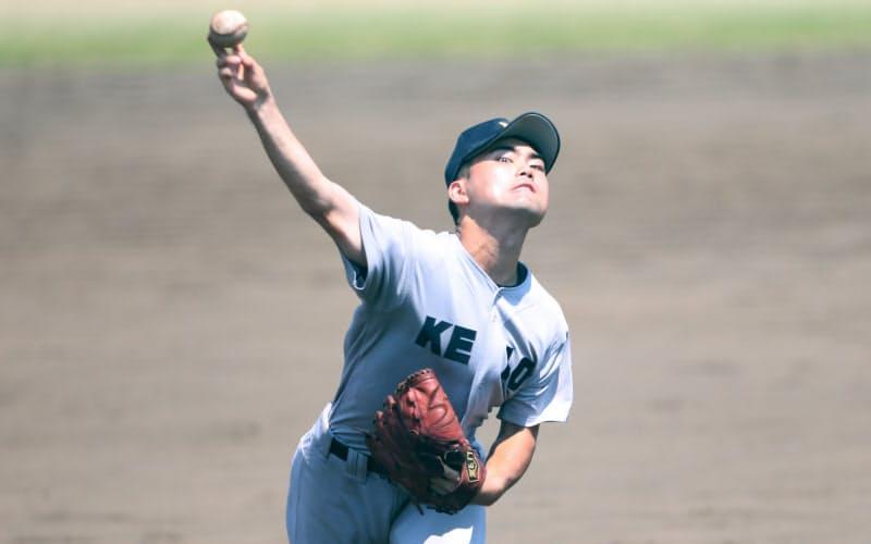 5回戦で力投する松平さん(15日、神奈川県藤沢市の八部野球場)