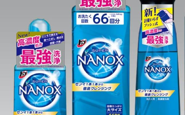 ライオンが発売する衣料用洗剤「トップ スーパーナノックス」。ボトルのプラスチック使用量も従来比で2割削減した