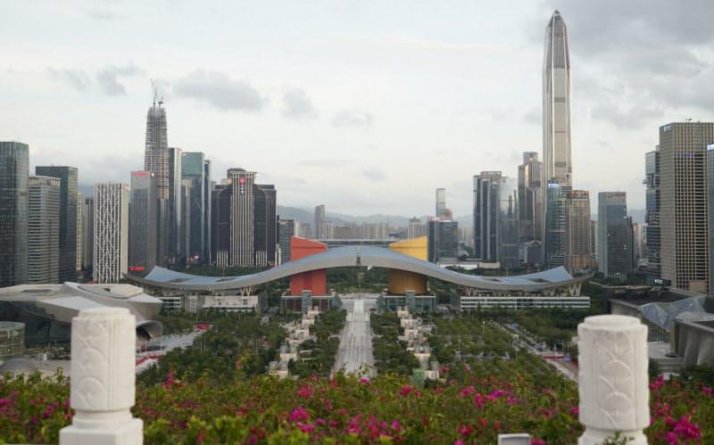 中国・深圳の中心部に立ち並ぶビル群(2019年)