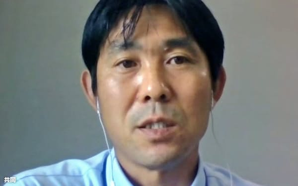 オンラインで取材に応じるサッカー日本代表の森保監督(25日)=共同