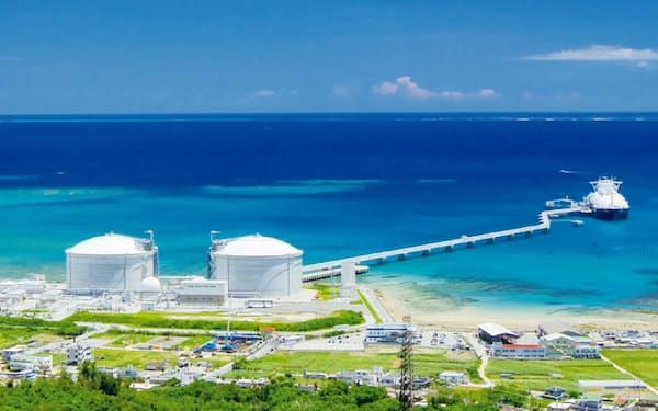 長さ1.4キロメートルの配管橋を使い、沖合のバース(右)から2基のガスタンクへLNGを送り貯蔵(沖縄電力提供)