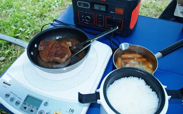 ほぼ2人分の米を炊きポトフを作りステーキを焼いても電力は57%残っていた