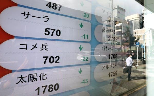 安倍首相辞任のニュースを受け中部企業の株価も大きく動いた(28日午後、名古屋市中区)