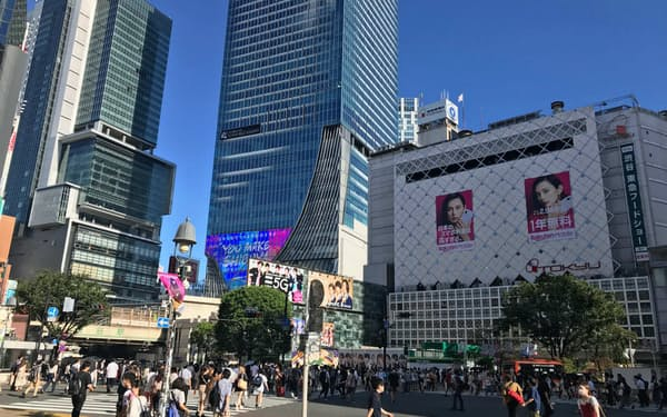 渋谷の人出は徐々に戻ってきたとはいえ、コロナ前から比べると減少している