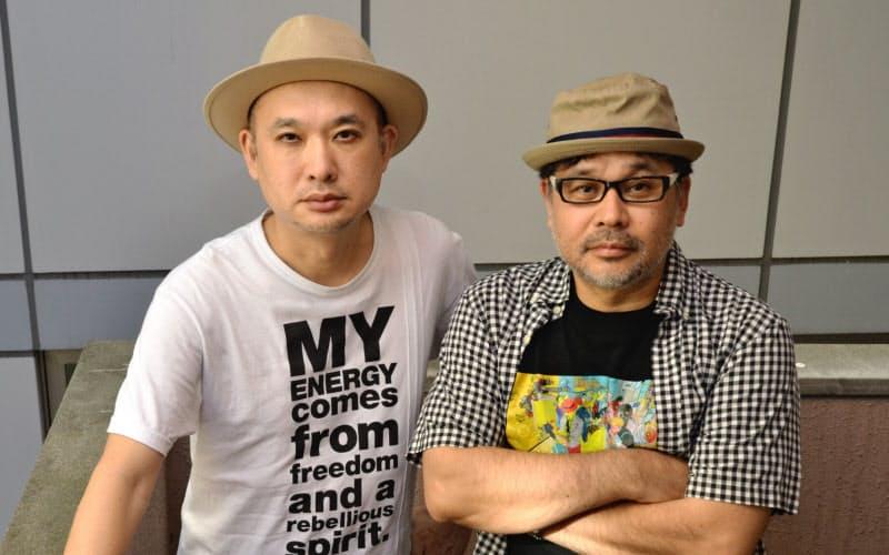 ボーカルの浜崎貴司(左)とベースでリーダーの伏島和雄