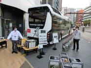 トヨタのFCバスの電気をホンダの機器を通じて災害地に供給する仕組みをつくる