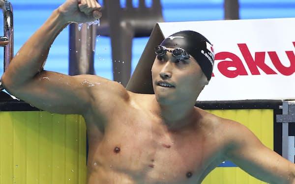 男子50メートル自由形で決勝進出を決めた塩浦(2019年7月、光州)=共同