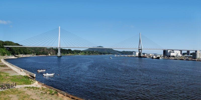 建設中の「気仙沼湾横断橋(仮称)」の完成イメージ