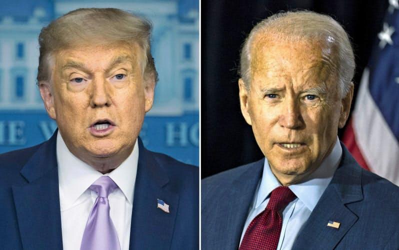 11月の大統領選で対決する共和党のトランプ氏(左)と民主党のバイデン氏=AP