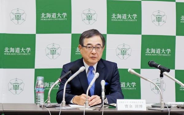 北海道大学の新学長に選出された宝金清博氏(3日、北海道大学)