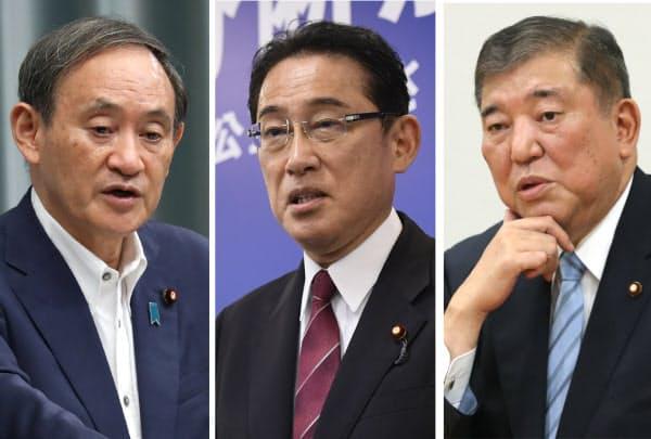 写真左から、菅官房長官、岸田政調会長、石破元幹事長