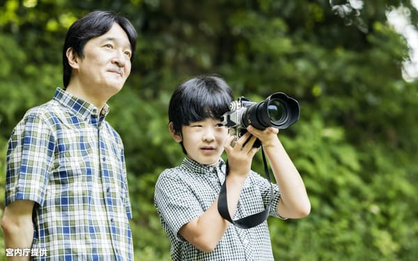 秋篠宮さまにカメラの撮影を教わる悠仁さま(右)=宮内庁提供