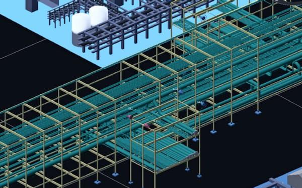 画面上で複雑なプラントの配管を自動設計する