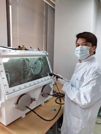 トリチウム電池の実用化に向けた試験を行う実験室の様子(紫電能源提供)