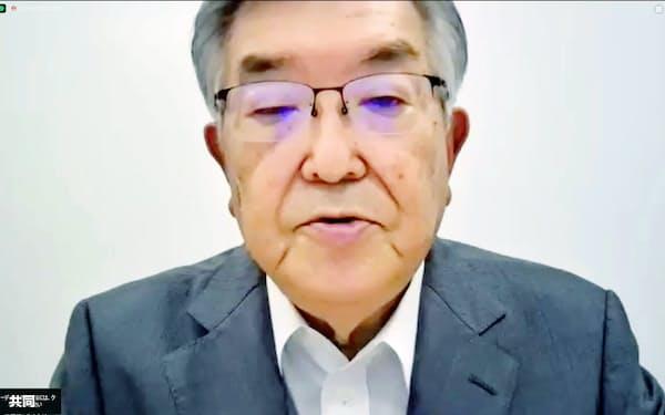 第15回「新型コロナウイルス対策連絡会議」後に、オンラインで記者会見するプロ野球の斉藤惇コミッショナー(7日午前)=共同