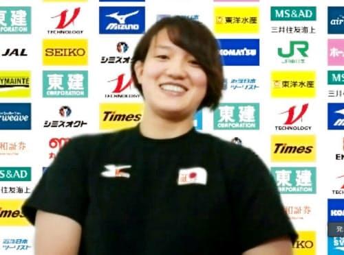 オンラインで取材に応じる東京五輪柔道女子70キロ級代表の新井千鶴(7日)=共同