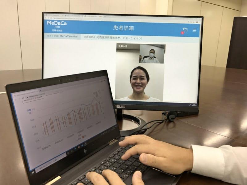 医師は妊婦の血圧や体重の変化を見ながら遠隔検診する