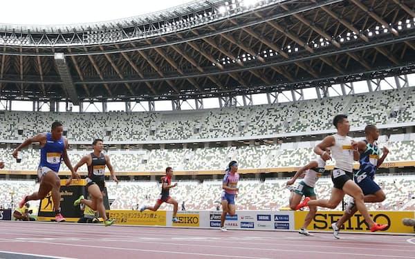 無観客で開催されたセイコーゴールデングランプリ陸上(8月23日、東京都新宿区の国立競技場)
