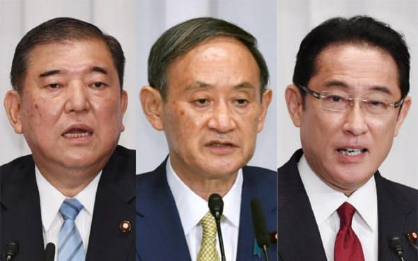 (左から)石破元幹事長、菅官房長官、岸田政調会長