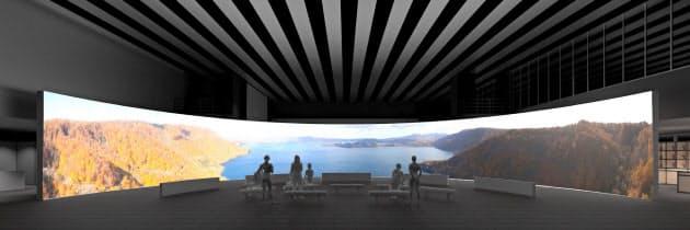 大型スクリーンでは東北や新潟の四季の映像を上映する(イメージ)
