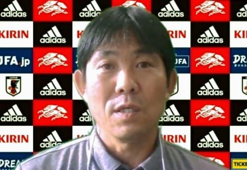 オンライン取材に応じるサッカー日本代表の森保監督(8日)=共同