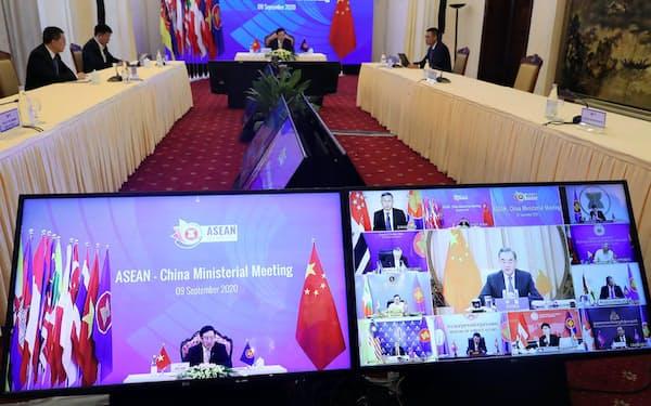 9日、中国とASEANの外相会議には中国から王毅(ワン・イー)外相が出席した