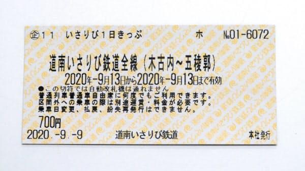 いさりび鉄道が発売した1日乗降自由の切符(見本)