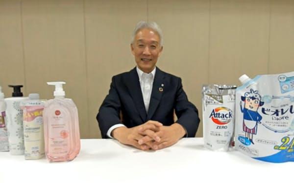 花王の沢田社長はリデュースにリサイクルも加える構えだ