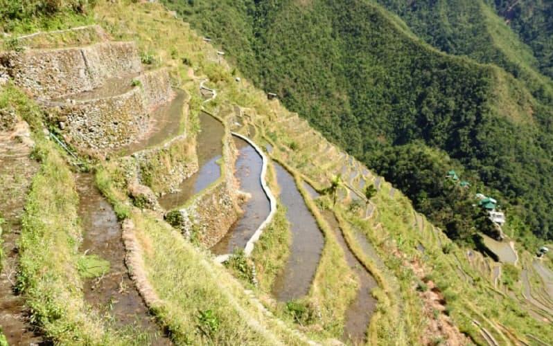 石垣の上の狭い棚田はさらに奥まで延々と続く(フィリピン、イフガオ州のバタッドで)