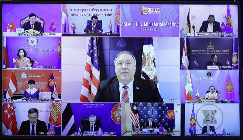 10日、ポンペオ米国務長官はASEANとのオンライン形式の外相会議で連携を訴えた